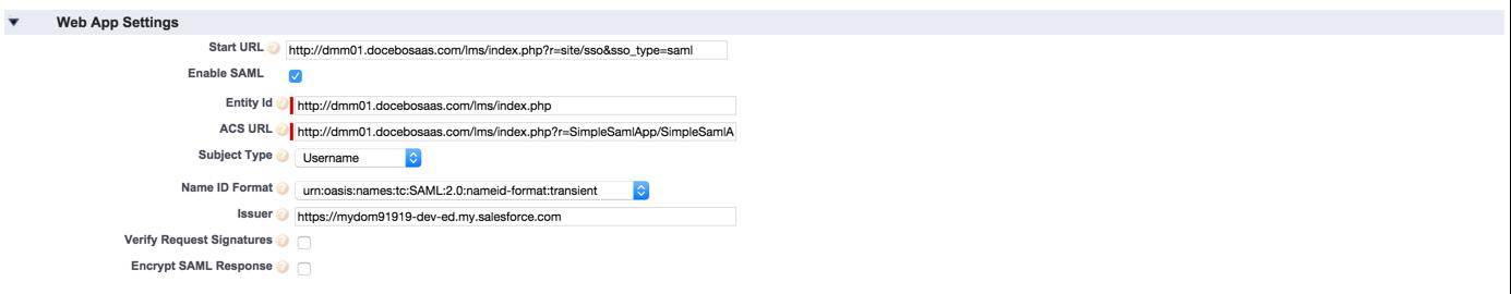 salesforce sso webapp settings