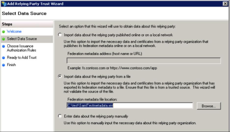 ADFS select data source